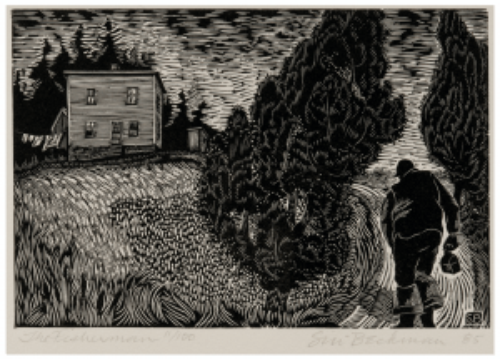 "Siri Beckman Woodcut Art ""The Fisherman"""