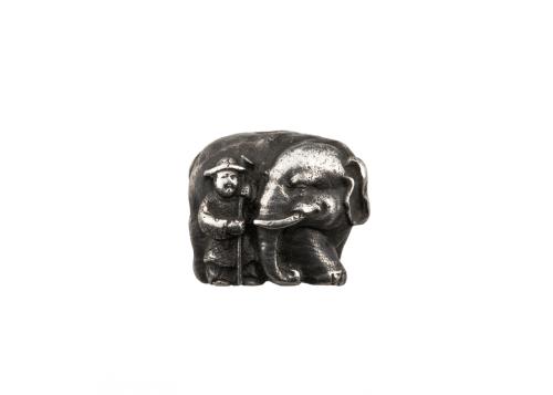 An Antique Meiji Era Japanese Silver Elephant Signed Ojime Bead