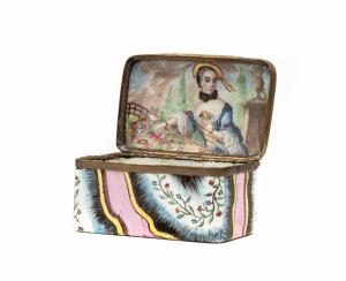 An 18th Century Enamel Landscape Portrait Snuff Box