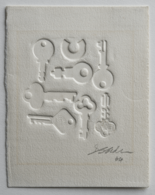 "Doris Seidler Etching ""Keys"" Original Vintage Intaglio Print 64'"