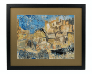 A Vintage Oil On Paper Impressionist Painting Of  Cityscape In Israel Judaica By Robert Rosenberg 1951-2006