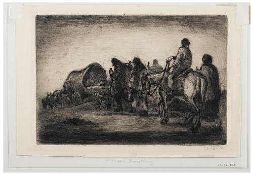 "A Vintage Intaglio Print Etching By Eugene Higgins 1874-1958 ""Pioneers Traveling"""
