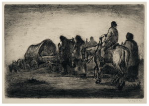"A Vintage Intaglio Print Etching By Eugene Higgins 1874-1958 ""Pioneers Traveling"""