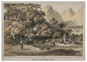 Kanaka Village Bonin islands Antique Print
