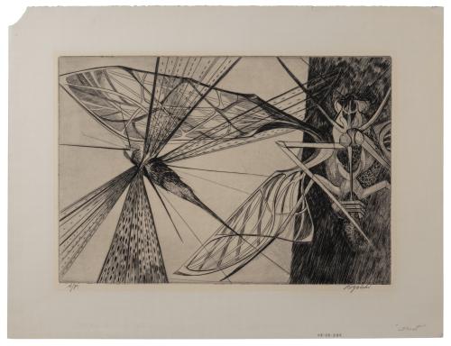 """Vintage Artist Proof Intalgio Print By Walter Rogalski """"Locust"""""""