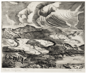 "A Vintage Intaglio Etching Print By Gladys Mock ""Clouds Saving Love"""