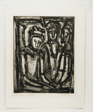 "David Ruff 1925-2007 Vintage Etching Print , ""Untitled (three figures)"""