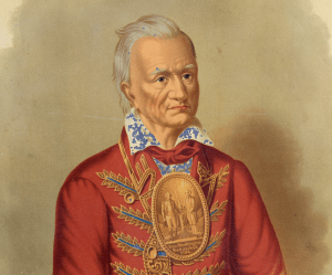 Antique American Enamel On Tin Lithograph Portrait Of Seneca War Chief Red Jacket