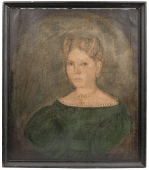 An Antique 19th Century American Folk Art Portrait Painting Dated October 1835 Born July 1820