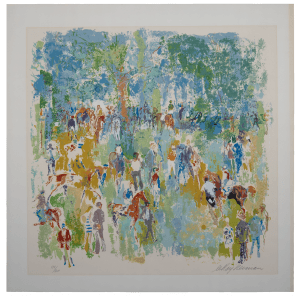 """Vintage Equestrian Print By Leroy Neiman """"Paddock' 1974 Signed Serigraph"""