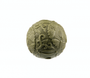 An Antique Meiji Era Lacquered Molded Ojime Bead