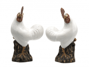 A Pair of Chinese Export Roosters 18th/19th Century