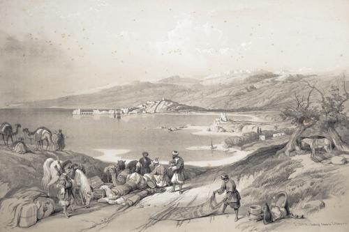 1841 David Roberts R.A. Lithograph Sidon Looking Towards Lebanon Antique Print
