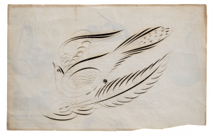 A 19th Century American Folk Art Calligraphy Drawing Of A Bird