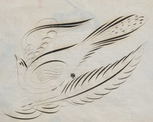 A 19th Century American Folk Art Calligraphy Drawing Of A Bird