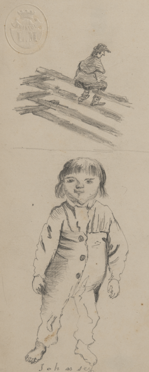 An Antique English Study Sketch of A Boy
