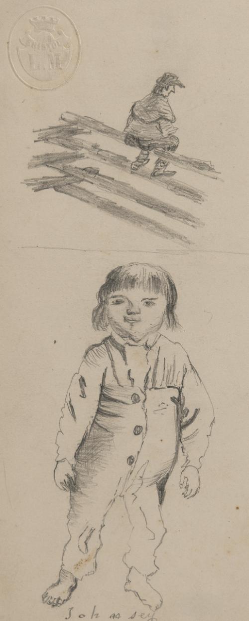An Antique English Study Sketch of A Boy