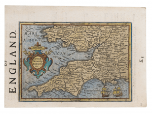 An Early Antique Map Of Southwest England By Gerard Mercator Circa 1595