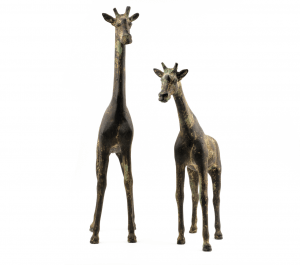 A Pair Of Large Early Vintage Cast Metal Patinated Giraffe