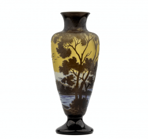 An Early 20th Century Signed Galle Glass Cameo Landscape Vase