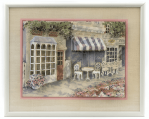 A Jim Wilson Framed 3D Town Scene Sculpture