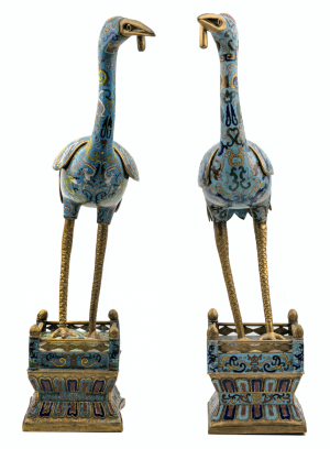 A Pair Of Antique Chinese Qing Dynasty Cloisonné Cranes