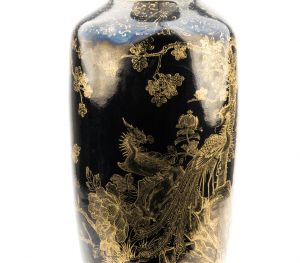 An Antique Chinese Mirror Black Gilt Decorated Vase Lamp