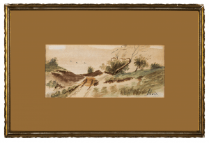 A Gilt Framed Antique Landscape Watercolor Painting Signed Alois