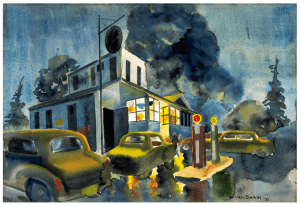 W.W. Shaw 1951 Night Scene Watercolor Painting
