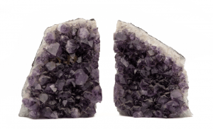 A Pair Of Large Vintage Amethyst Crystal Geode Book Ends