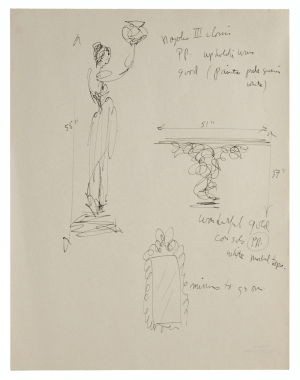 An Interior Design Sketch Of Sculpture & Decor By Raoul Du Bois