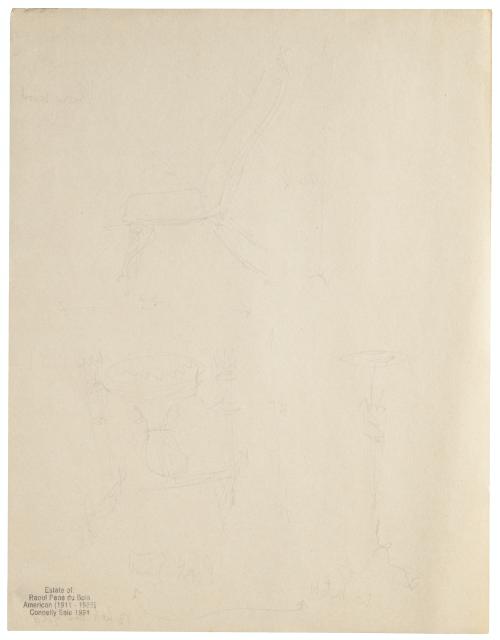 An Interior Design Sketch Of Sculpture & Decor By Raoul Du Bois