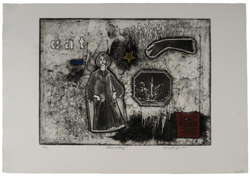 "Vintage Weekend Series Intaglio Print Etching ""Thursday"" By Richard Aunspaugh 65'"