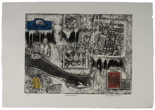 "Vintage Weekend Series Intaglio Print Etching ""Saturday"" By Richard Aunspaugh 65'"