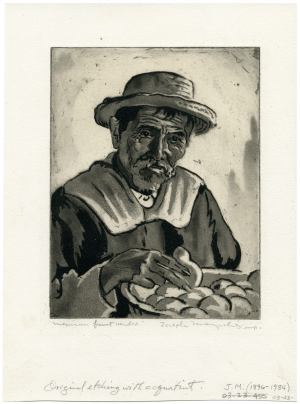 "Joseph Margulies Profile Portrait Vintage Print, ""Mexican Fruit Vendor"" Aquatint"