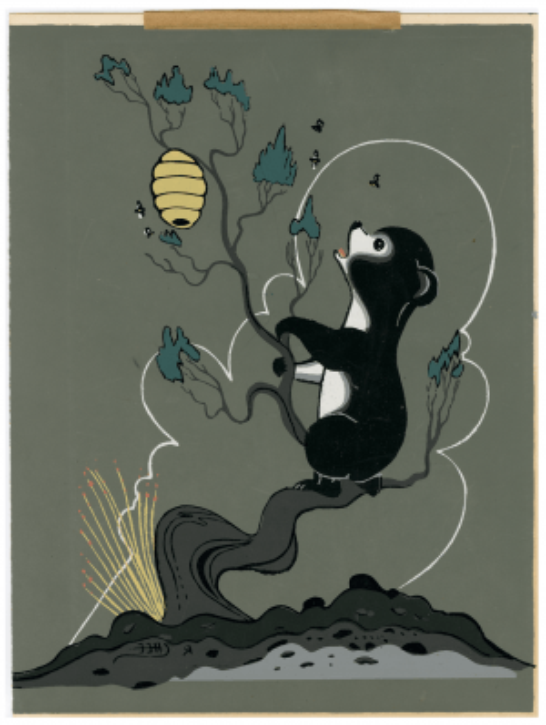 A Vintage Robert Chee Navajo Signed Original Painting Of A Bear Chasing Honey