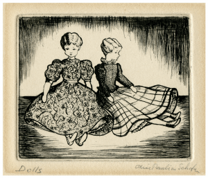 "A Vintage Signed Intaglio Print Etching ""Dolls"""