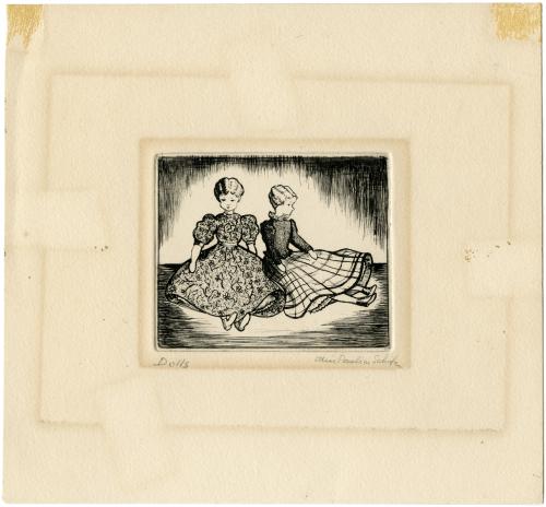 "A Vintage Signed Intaglio Print Etching ""Dolls"""
