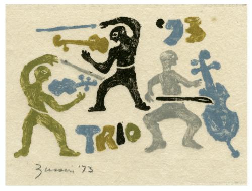"Musical ""Trio 73"" Vintage Print Etching"