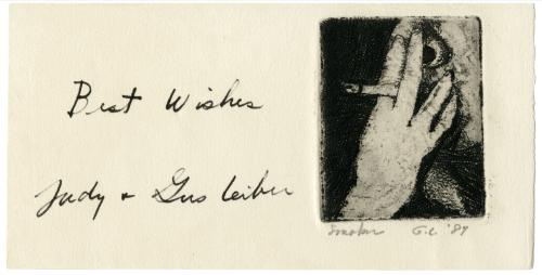 "Gerston Leiber ""Smoker Best Wishes Judy & Gus Leiber"" Vintage Print Etching"