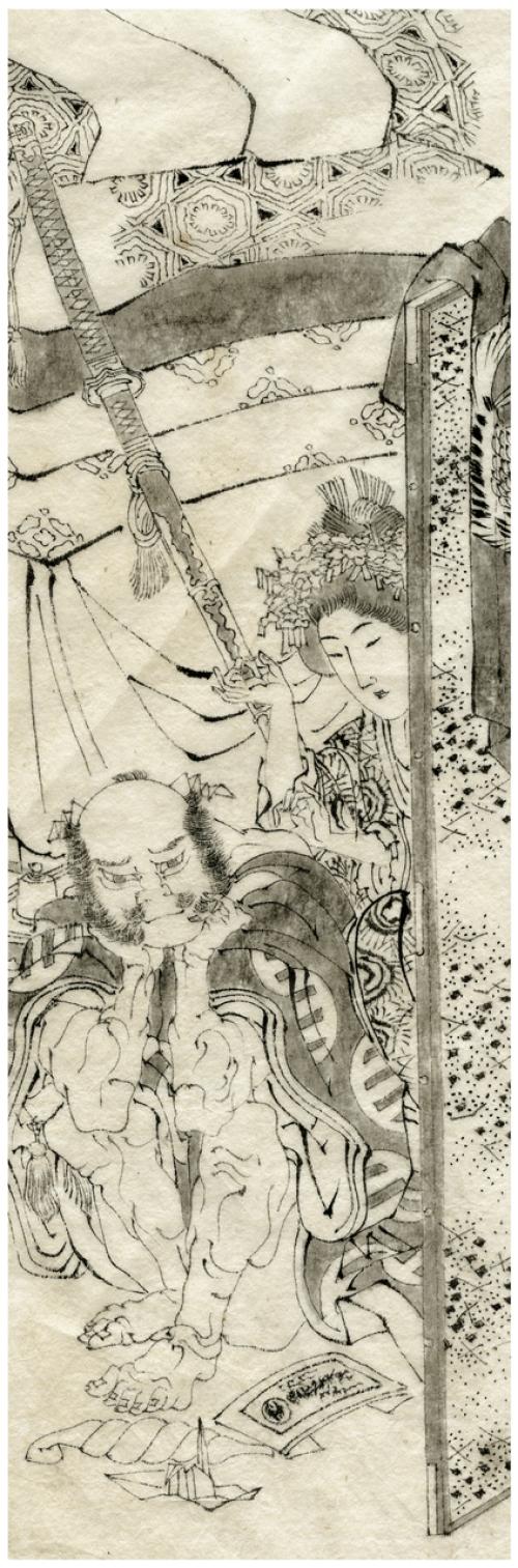 School Of Katsushika Hokusai Ink Drawing Edo Era Circa 1828