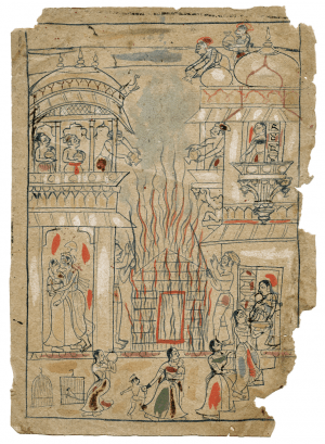 The Adoration Of Devi 18th Century Indian Drawing Fragment