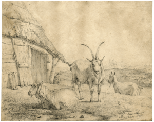 "Pierre François De Noter (1779-1843) ""Farm Goats"" Master Drawing"