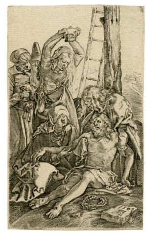 A Copper Engraving By Albrect Durer Lamentation Over Christ