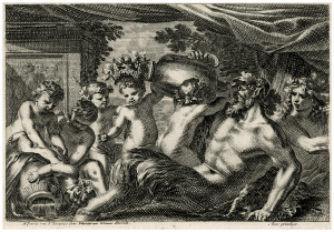 A 17-18th Century French Copper Plate Engraving Of Bacchus By Jean Le Pautre