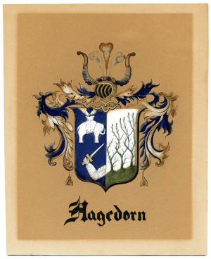An Antique Hagedorn Hand Painted Coat of Arms