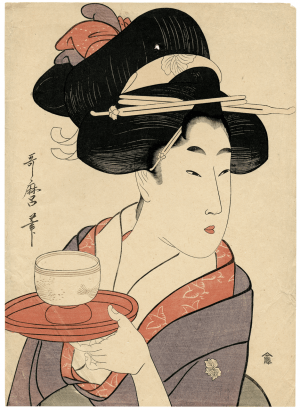 An Antique Bijin Okuki-e Japanese Woodblock Print By Kitagawa Utamaro