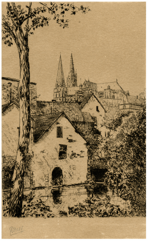 An Antique French Etching Print Of Chartres Cathedral Ahuy