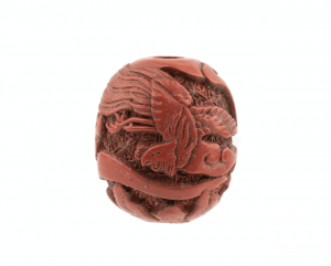 An Antique Chinese Phoenix Carved Cinnabar Lacquered Bead
