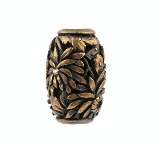 19th Century Meiji period Signed Mixed Metal Japanese Botanical Decorated Ojime Bead